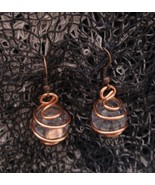 Crystal Ball Earrings Copper Wire Wrapped Copper Hooks Handcrafted  - $9.99