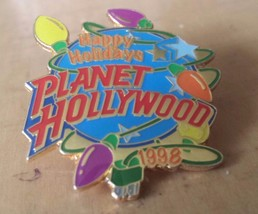 """1998 Planet Hollywood Happy Holiday Lapel Pin 1 1/2"""" x 1 1/4"""" - $12.86"""