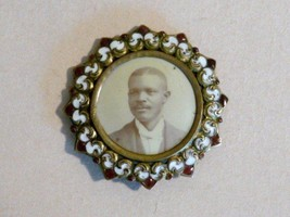 Antique Photo Picture African American Black Man White Ruby Enameled Bro... - $143.55