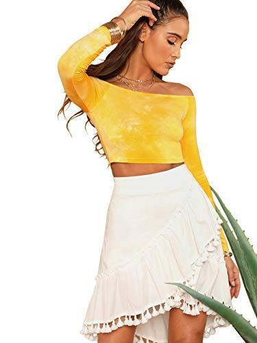 Floerns Women's Striped Long Sleeve Off The Shoulder Crop Top Ginger XS