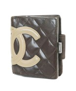 Authentic CHANEL Brown Quilted Leather CC Snap Bifold Wallet #32418 - $179.00