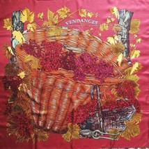 Hermes Carre 90 Scarf Stole VENDANGES Red Grape Silk 100% Woman Luxury Auth Used - $302.63