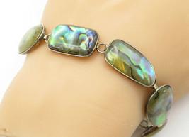 925 Sterling Silver - Vintage Abalone Multi-Shape Link Chain Bracelet - ... - $45.25