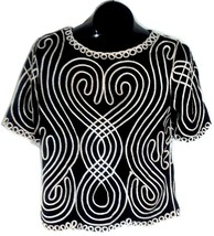 Lauren Michelle Womens Black Silver Shirt Blouse Top Medium F - $19.95