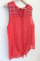 NEW! Lucky Brand Sheer Orange Embroidered Button Up Sleeveless Top Blouse L $90 - $49.00
