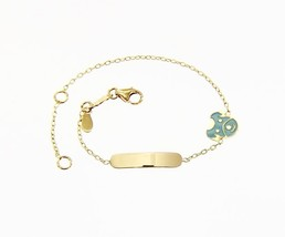 18 KT YELLOW GOLD BRACELET FOR KIDS WITH GLAZED DOG PUPPY MADE IN ITALY  5.5 IN image 1