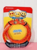 SCHWINN Emoji 6mm Thick Combo Lock Steel Cable Orange Fabric Cover Number - $10.84