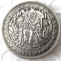 Hobo Nickel 1879 Morgan Dollar Skull Zombie Skeleton Death on Throne Und... - $11.99