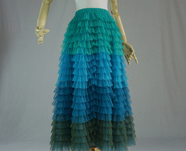 Multi-Color Tiered Tulle Skirt A-line Layered Tulle Midi Skirt Party Outfit image 5