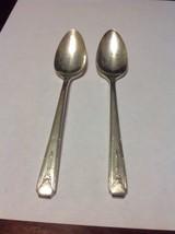 Vintage 1940 Milady Silverplate Oneida flatware Lot Of 2 teaspoons Art Deco - $6.99