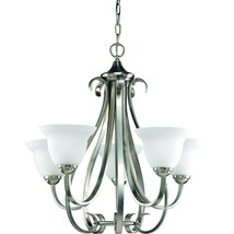 Torino 5-Light Brushed Nickel Chandelier with Etched Glass - $184.66