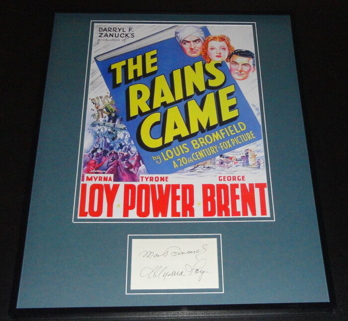 Primary image for Myrna Loy Signed Framed 16x20 The Rains Came Poster Display