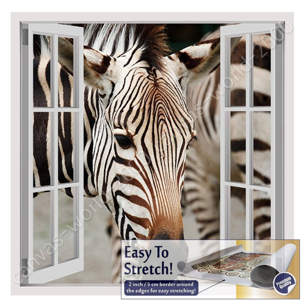 CANVAS (Rolled) African Zebra Fake 3D Window Painting Oil Paintings Prints Art