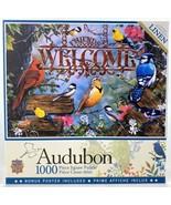 Master Pieces Jigsaw Puzzle 1000 Linen Pieces Audubon Perched Birds Welc... - $36.37