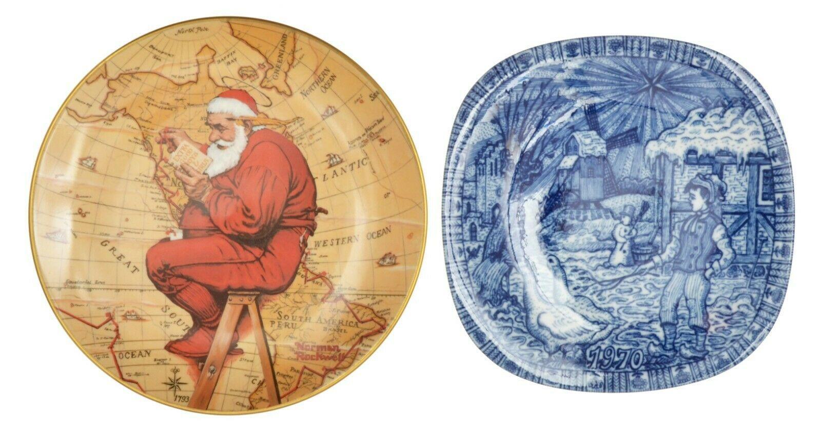 Gorham Norman Rockwell Santa Julen Rorstrand Sweden 1970 Christmas Plate Lot  - $21.38