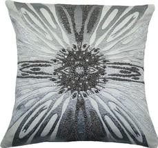 Throw Pillow ADELE 18x18 Silver Cotton New Hand-Beaded Zip - $149.00