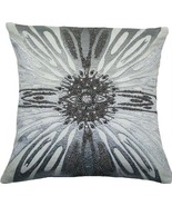 Throw Pillow ADELE 18x18 Silver Cotton New Hand-Beaded Zip - $149.00