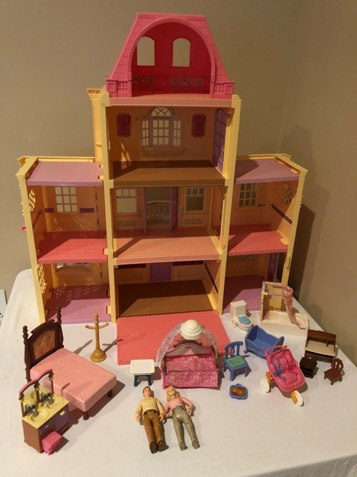 Primary image for Fisher Price Loving Family Twin Time Dollhouse Folding Doll House Accessories