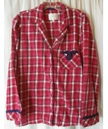 Victoria Secret Flannel Pajama PJ Top Long Sleeve Pink Plaid Shirt Medium - $8.90
