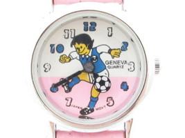 Cute Pink Leather Silver Tone Kids Girl's Soccer Wristwatch*Geneva*Jewelry*Y68 - $9.90
