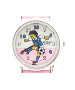 Cute Pink Leather Silver Tone Kids Girl's Soccer Wristwatch*Geneva*Jewel... - $9.90