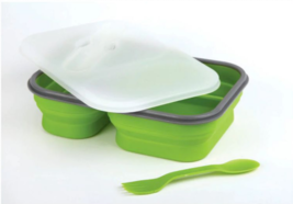 Lunch Kit 2 Section Collapsing Food Grade Silicone Meal Container Box Gr... - $22.79
