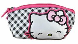 Hello Kitty Sanrio Gingham Schleife Kosmetik Tasche Makeup Zubehör Bag Neu