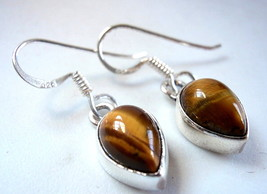Tiger Eye Pear Shape 925 Sterling Silver Dangle Earrings New Teardrop - $21.77