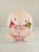 """2012 LARGE Goffa Stuffed Plush Light Pink Bunny Rabbit Mother With Baby 23""""x15"""" - $19.99"""