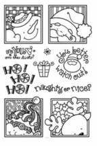 Stamp Set Christmas Santa Reindeer Snowman Elf Sentiments - 10 Pieces