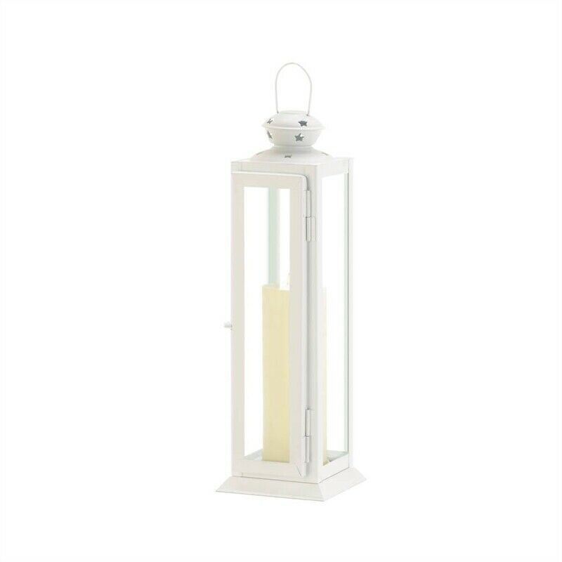 Primary image for Large Cutout Stars Metal White Candle Lantern