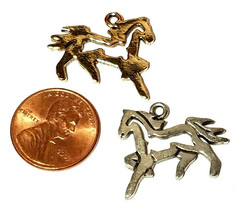 Running Horse Outline FINE PEWTER PENDANT CHARM - 23mm L x 20mm W x 1.5mm D image 2