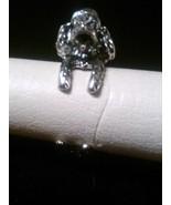Antique Silver Poodle,/Bichon Type Dog Adjustable Wrap Ring - $7.99