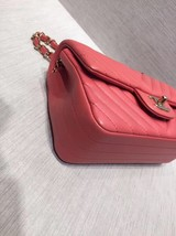 AUTH NEW Chanel RARE PINK CHEVRON Quilted LAMBSKIN Large Mini 20CM Flap Bag SHW image 4