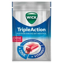 Wick Triple Action Menthol & Cassis lozenges 72g-SUGAR FREE- FREE SHIPPING - $7.87