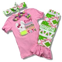 Cute Kids Clothing Toddler Girl/Girls Easter Bunny Outfit Ruffled Capri ... - $24.99