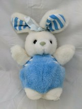 "Fiesta White Blue Rabbit Plush Stripes Round 8"" 1989 Stuffed Animal Toy - $16.95"
