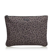 Pre-Loved Gucci Brown Nylon Fabric Leopard Print Clutch Bag Italy - $349.69