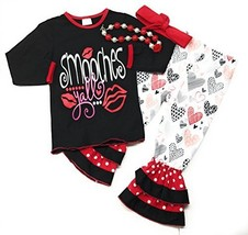 Toddler Girl Valentine's Day Outfit Smooches Boutique Set Kids Clothing ... - $29.99