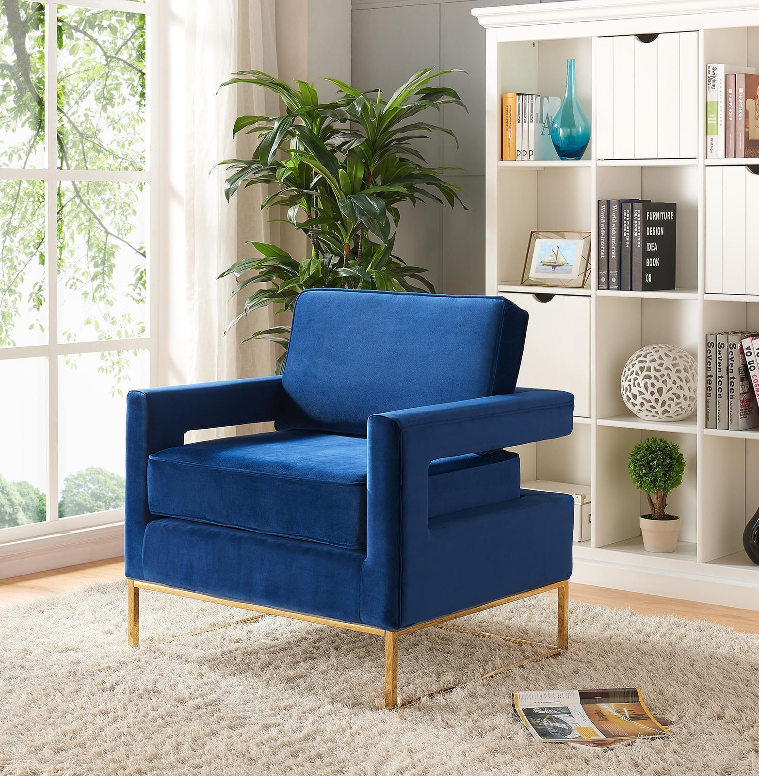 Meridian Furniture Noah Contemporary Navy Blue Velvet Accent Chair
