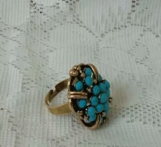 Vintage Turquoise Blue Bead Cluster Gold Tone Adjustable Ring  - $26.99
