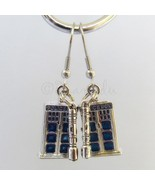 Doctor Who Sonic Screwdriver And Tardis Police Box Stainless Steel Earrings - $26.00