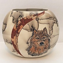 Handmade Ceramic Round Oval Horse Hair Wolf Face Pottery By Gina Arrighetti - $59.39