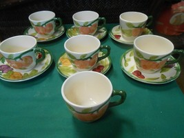 """Great FRANCISCAN """"Fresh Fruit"""" Set of 6 cups & saucers & 1 FREE Cup - $55.03"""