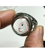 One Black Quicksand Bubble Enhydro Natural Quartz Crystal Adjustable Rin... - $129.64
