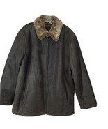 RC COMSTOCK Expedition Brown Leather Full Zip Mens L Jacket Soft Faux Fu... - $89.08