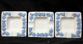"3 - Wedgwood Queenware Queensware Lavender Blue Cream  Ashtrays 3-1/2"" -... - $17.77"