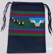 Native American Patchwork DEER HEAD TRACKS HOOF Pull String Bag Purse Ha... - $35.00