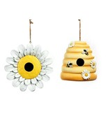 Set of 2 - Loves Me Loves Me Not & Beehive Hanging Birdhouses Polystone ... - $69.29