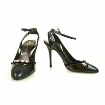 Fendi Dark Blue & Brown Mary Janes Leather Slingback Pumps Shoes white pearls 39 - $197.01